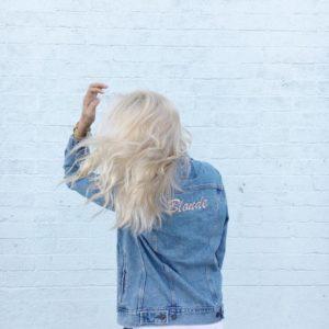 Blonde denim jacket