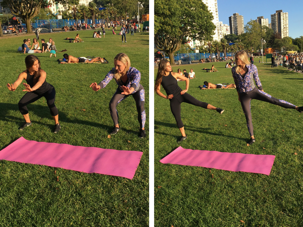 squat alternating leg lift in motion
