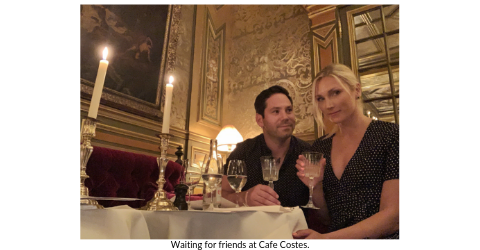 Broad World's Stef McAuley and boyfriend enjoy cocktails at Cafe Costes, Paris.