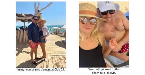 Broad World's Stefanie McAuley and boyfriend at Club 55 in St. Tropez