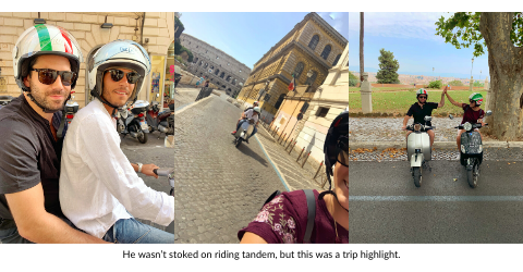 Broad World and boyfriend ride vespas through the streets of Rome.