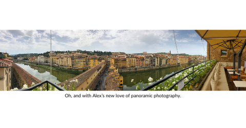 Panoramic shot from a patio in Florence.