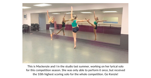 Stefanie McAuley working with dance student Mackenzie