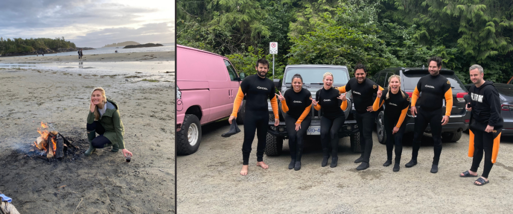 Things to do in Tofino are surfing and building beach fires